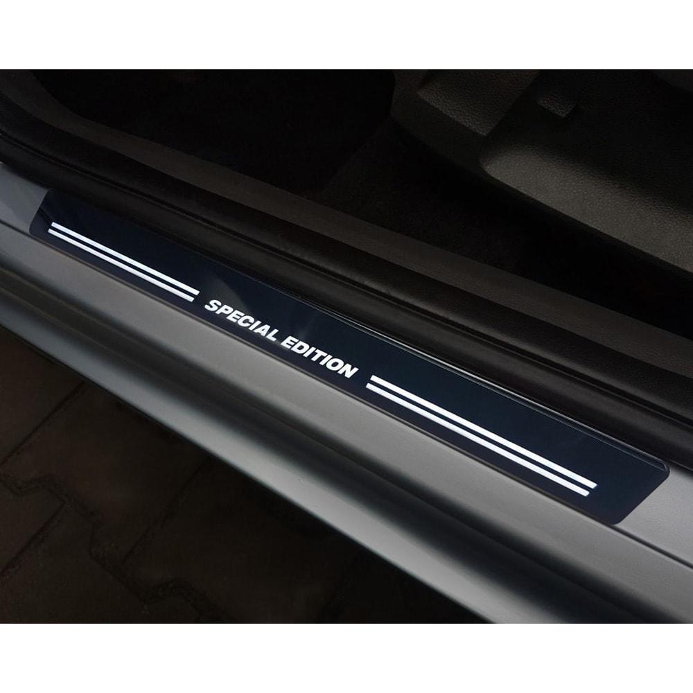 Car Door Sill Scuff Plate Protectors Trim White LED
