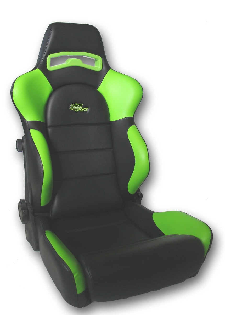 Sports car seat chair Leather Black/Green